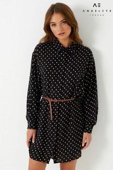 Angeleye Polka Dot Belted Shirt Dress