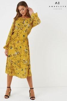 Angeleye Floral Long Sleeve Shirred Waist Maxi Dress
