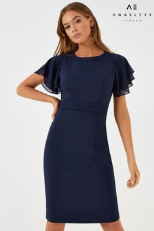 Angeleye Angel Sleeve Fitted Midi Dress
