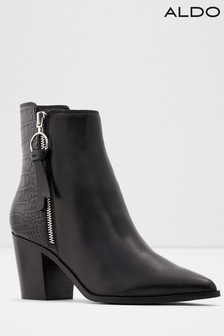 Aldo Leather Blend Pointed Heeled Ankle Boots