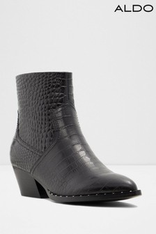 Aldo Leather Blend Cuban Heel Ankle Boots