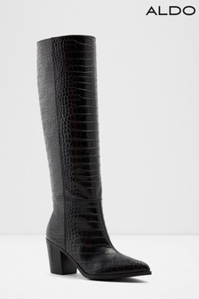 Aldo Leather Blend Pointed Croc Print Boots