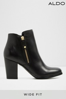 Aldo Wide Fit Leather Ankle Boot with Side Zip