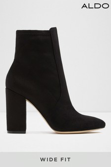 Aldo Wide Fit Leather Blend Block Heel Ankle Boots