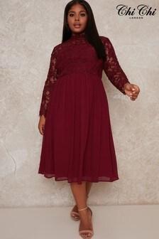 Chi Chi London Curve Ella Louise Crochet Bodice Dress