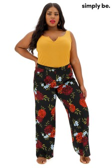 Simply Be Crepe Wide Leg Floral Print Trousers