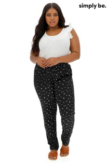 Simply Be Crepe Tapered Mono Print Trousers