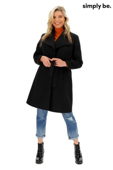 Simply Be Longline Belted Wrap Coat