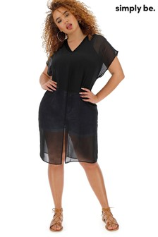 Simply Be Longline Sheer Overlay Blouse