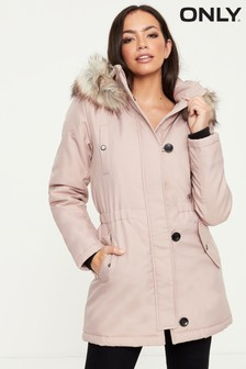 Only Button Through Parka With Gathered Waist Faux Fur Trimmed Hood