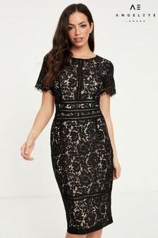 Angeleye Lace Short Sleeve Midi Dress