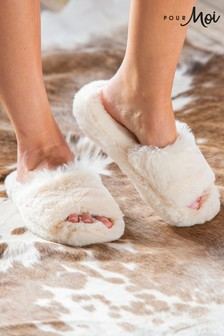 Pour Moi Cosy Faux Fur Slider Slippers