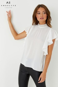 Angeleye Beaded Collar Angel Sleeve Blouse