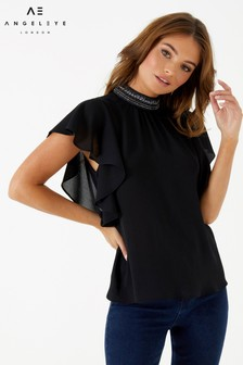 Angeleye Beaded Collar Top