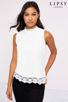 Lipsy Crochet Trim Shell Top