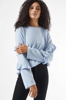 Dorothy Perkins Ruffle Sleeve Brushed Top