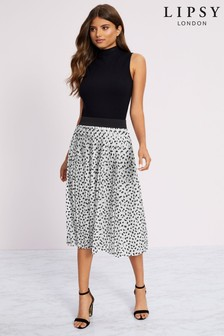Lipsy Printed Pleated Midi Skirt