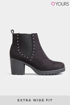 Yours Extra Wide Fit Stud Platform Ankle Boots
