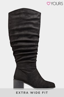 Yours Extra Wide Fit Block Heel Ruched High Leg Boot