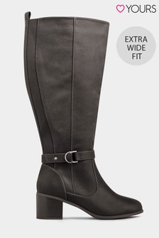 Yours Extra Wide Fit Stretch Back D-Ring High Leg Boot