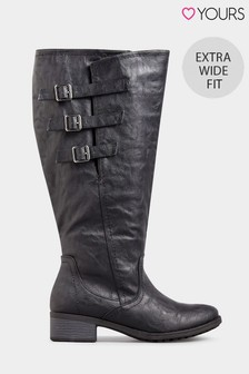 Yours Extra Wide Fit 3 Buckle Adjustable High Leg Boot