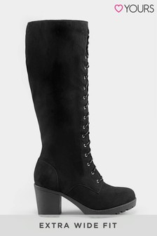Yours Extra Wide Fit Platform Lace Up High Leg Boot