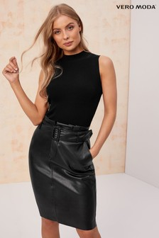 Vero Moda High Waist Short Coated Knee Skirt