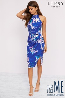 Lipsy Printed Halter Neck Midi Dress