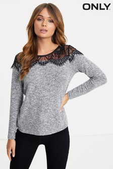 Only Lace Long Sleeve Pullover