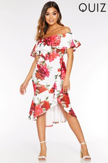 Quiz Floral Bardot Frill Midi Dress