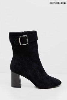 PrettyLittleThing Block Heel Buckle Boot