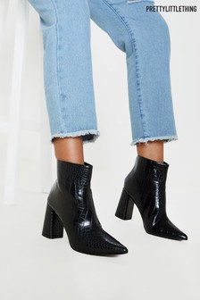 PrettyLittleThing Matte Croc Block Heel Point Ankle Boot