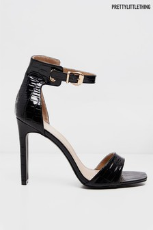 PrettyLittleThing Croc Heeled Sandals