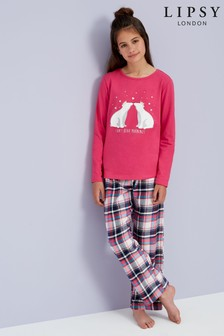 Lipsy Girl Check Bottom Pyjama Set