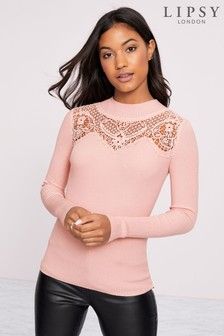 Lipsy Lace Ribbed Jumper