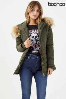 Boohoo Fur Hood Padded Coat