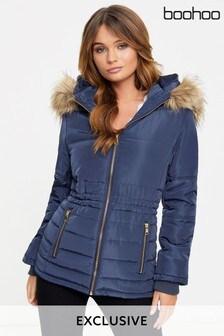Boohoo Fur Hood Padded Coat