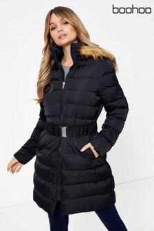 Boohoo Fur Hood Belted Padded Coat