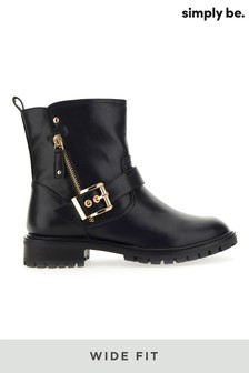 Simply Be Wide Fit Buckle Ankle Biker Boots