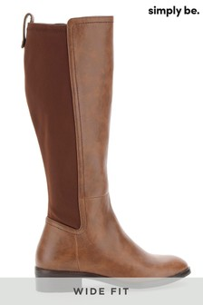 Simply Be Wide Fit Stretch-Back Super Curvy Knee High Boots