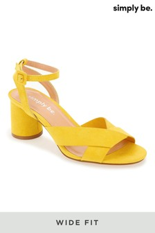 Simply Be Wide Fit Ankle Strap Low Block Heel Sandals