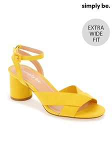 Simply Be Extra Wide Fit Ankle Strap Low Block Heel Sandals