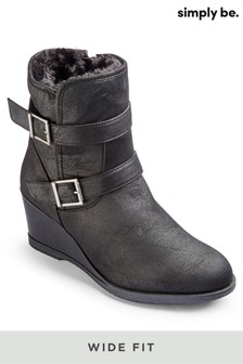 Simply Be Wide Fit Casual Wedge Ankle Boots