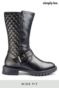 Simply Be Wide Fit Quilted Calf Boots