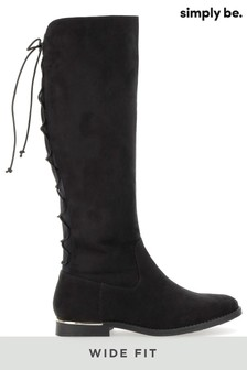 Simply Be Wide Fit Lace Back Boots