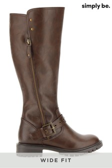 Simply Be Wide Fit Knee High Biker Boots.