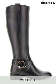 Simply Be Wide Fit Stretch Leather Boots