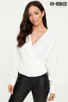 4th & Reckless Wrap Front Blouse
