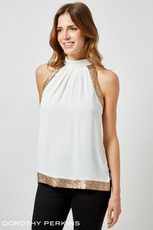 Dorothy Perkins Sequin Shoulder Sleeveless Top