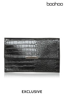 Boohoo Faux Croc Envelope Clutch Bag